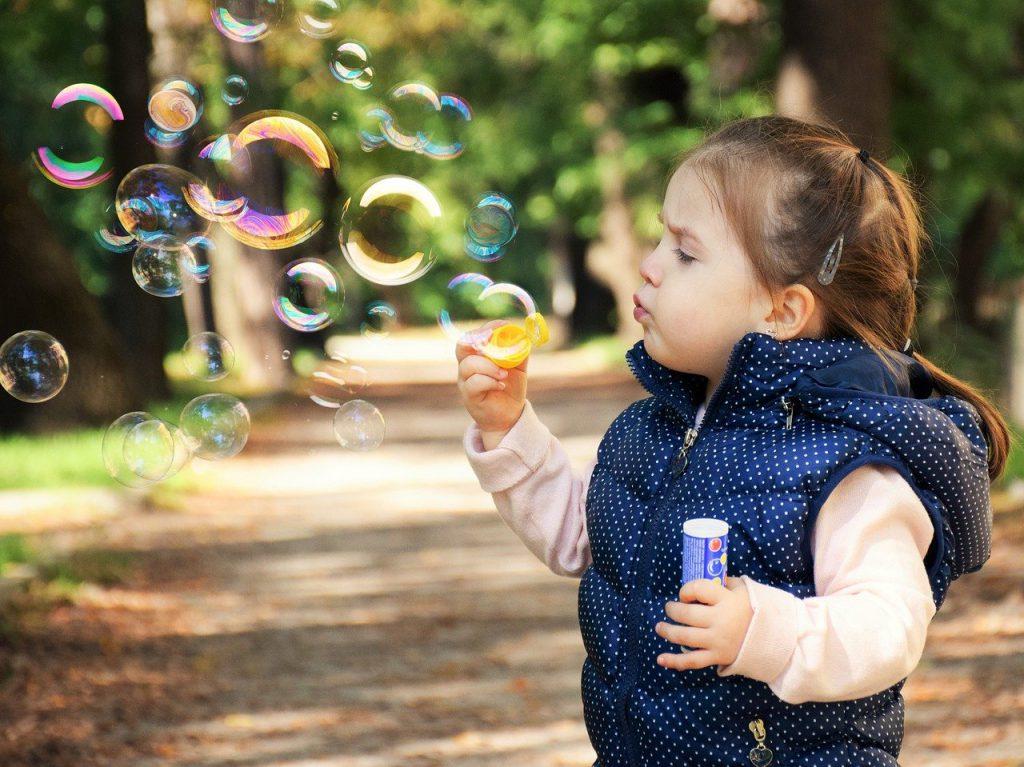 kid, soap bubbles, girl